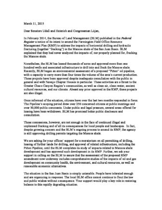Chaco Canyon Congressional Delegation Letter  Earthworks