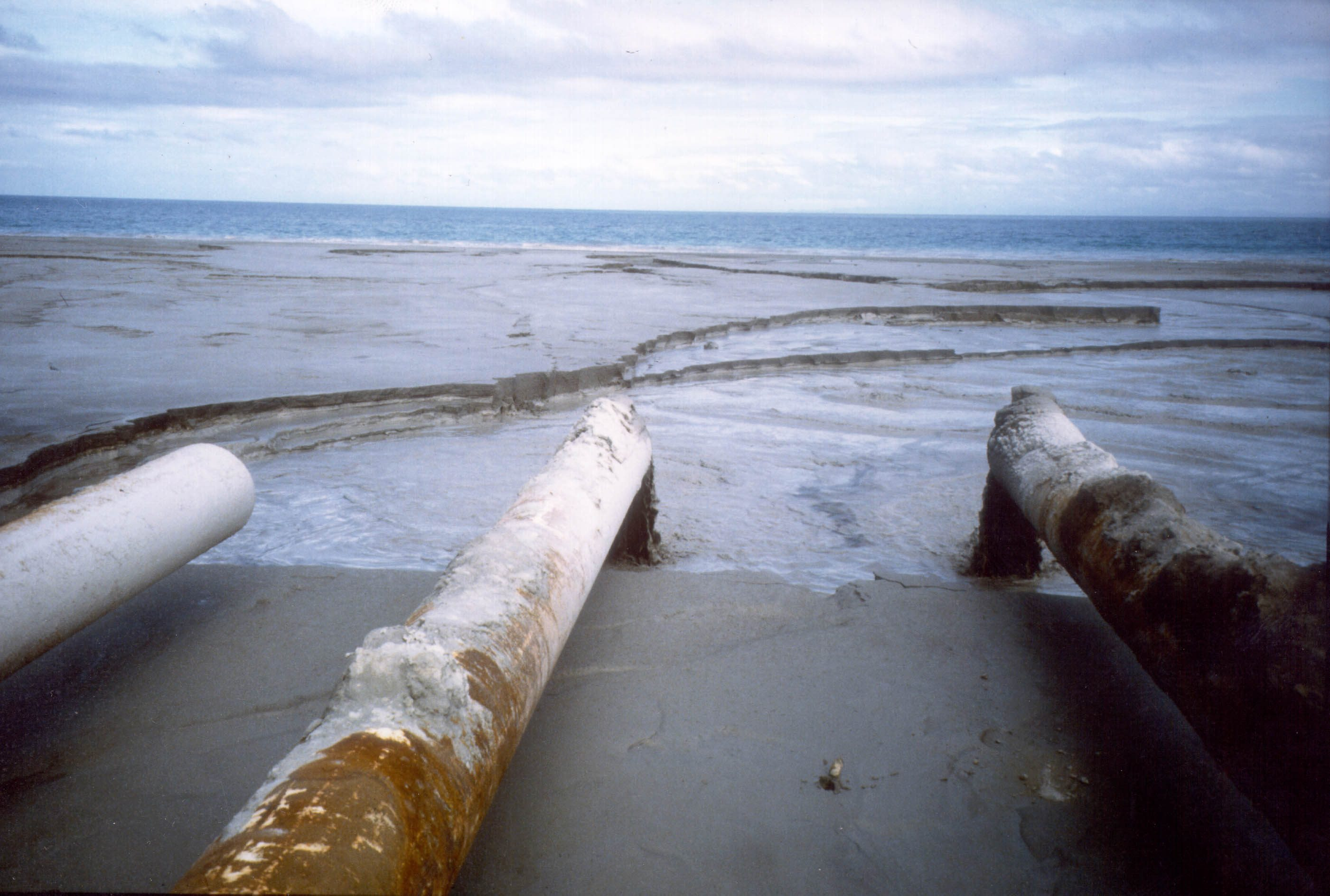 Tailings pipes from the Marcopper mine in Marinduque entering the sea at Calancan Bay.