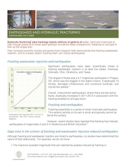 Fact Sheet: Earthquakes and Hydraulic Fracturing