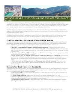 Fact Sheet: Abandoned Mine Lands Cleanup and Taxpayer Fairness Act