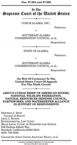EARTHWORKS Amicus Brief to Supreme Court in Coeur Alaska v. Southeast Alaska Conservation Council