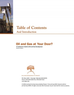 Oil and Gas At Your Door?  Table of Contents and Introduction