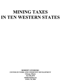 Mining Taxes in Ten Western States